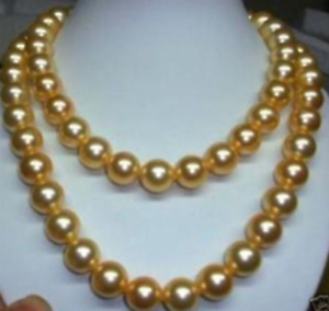 """Natural 8mm 10mm gold south sea shell pearl necklace 34/"""" AAA"""