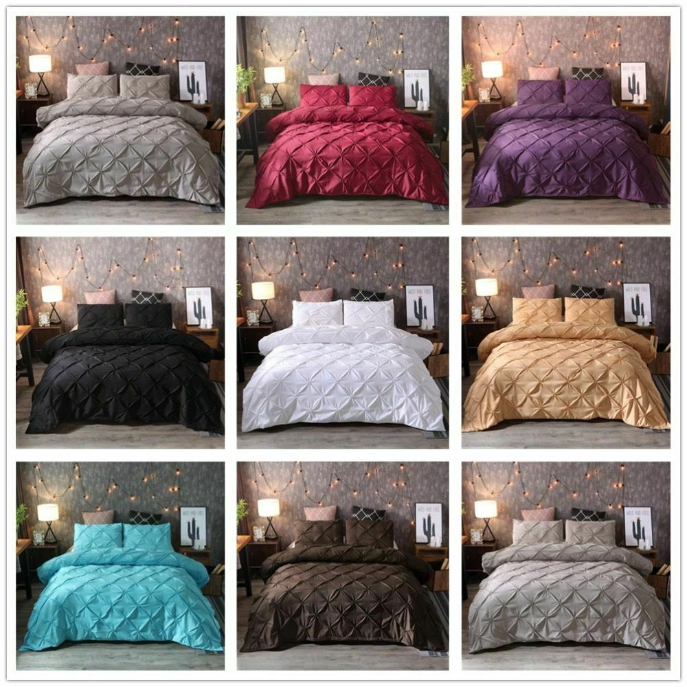 Bedding Set Luxury Pinch Pleat Duvet Cover Pillowcase Queen King Size Bedclothes