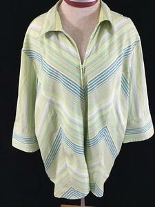 DCC-blouse-top-size-2X-plus-stretch-green-stripe-lightweight-full-zip