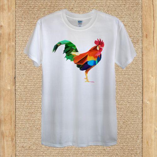 Geometric Rooster Art T-shirt Design Hipster Vector Quality Cotton unisex women