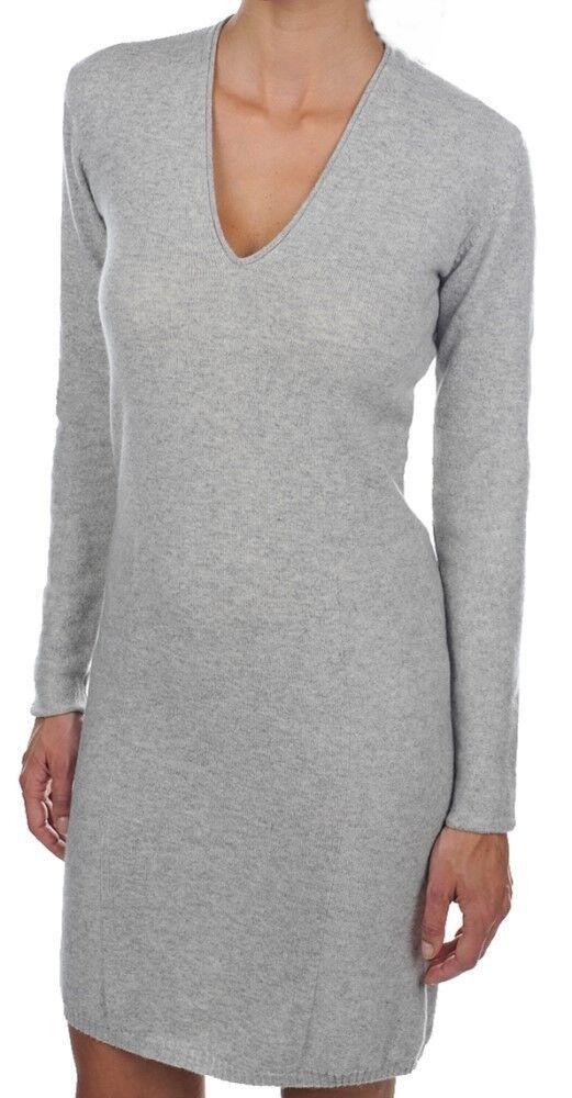 Balldiri 100% Cashmere  señora vestido de escote en V 2-fädig hellgau L  hasta 60% de descuento