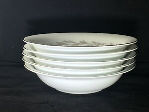 Noritake-China-Japan-6041-Graywood-Soup-Cereal-Bowls-Set-Of-5