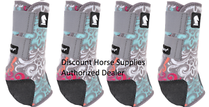 Classic Equine Grey Scroll LEGACY 2 SYSTEM Front & Hind Leg Splint Boots M