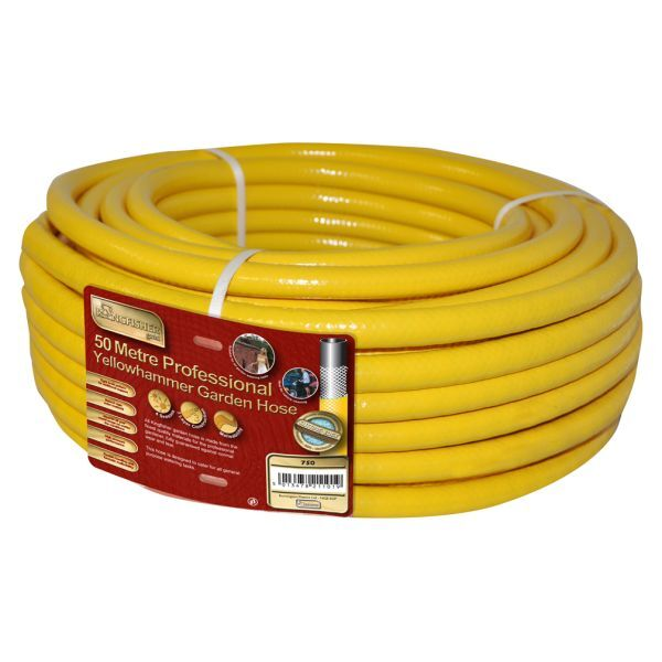 50m YELLOW REINFORCED GARDEN HOSE PIPE LAWN WATERING IRRIGATION PRO GOLD TOUGH