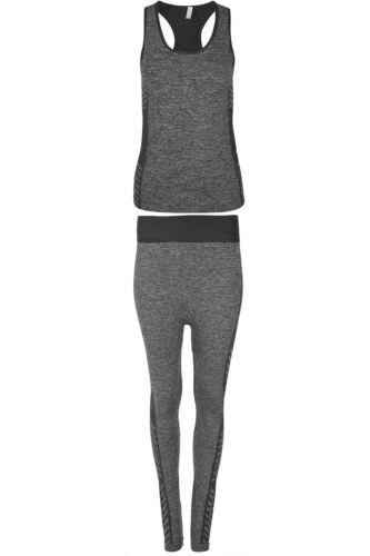 Womens Vest Gym Workout Sports Running Side Stripes Trouser Active Wear Set