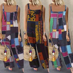 UK-Womens-Bohemia-Floral-Patchwork-Jumpsuits-Ladies-Wide-Leg-Playsuits-Plus-Size