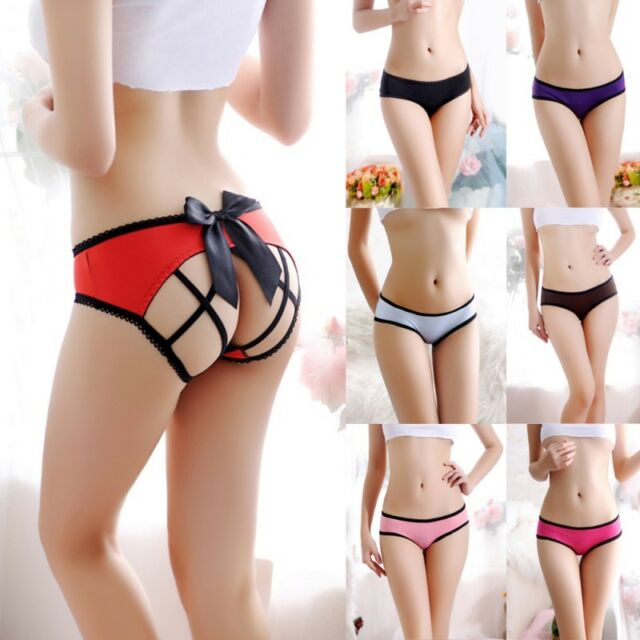 Women Crotchless Lace Panties Bowknot Backless Intimates Briefs Knickers