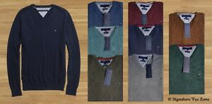 NWT-100-Authentic-Tommy-Hilfiger-Sweater-Jumper-V-Neck-Premium-Cotton-RRP-150