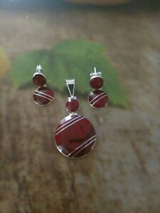 Small-Taxco-Mexico-Red-925-Sterling-Silver-Inlay-earring-and-Pendant-Sets