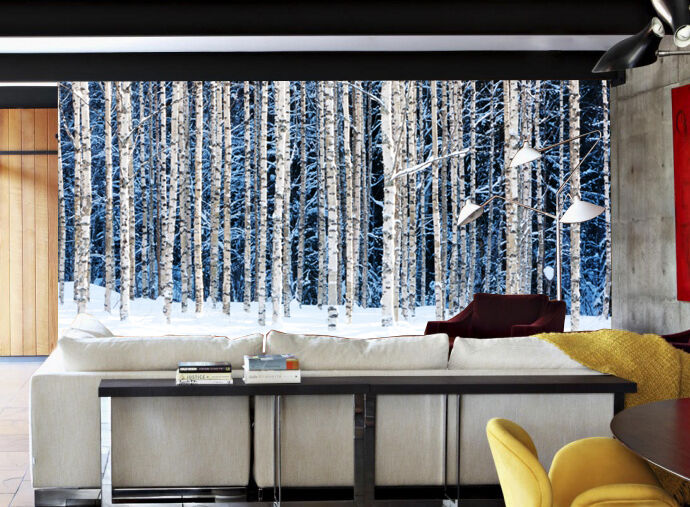 3D Snow Forest Trunks 7 Wallpaper Mural Wall Print Indoor Wallpaper Murals IE