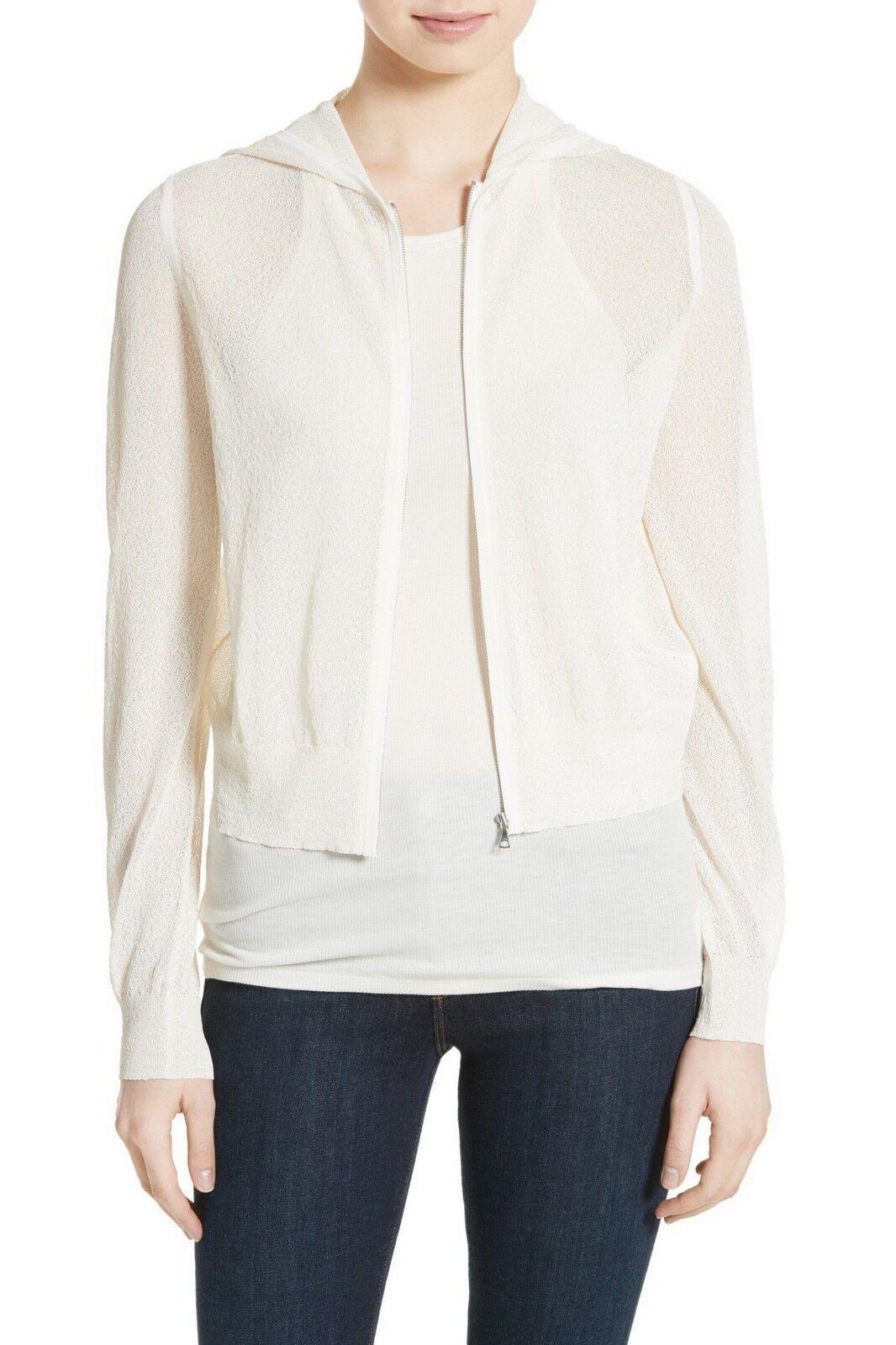 NWT Theory Hodina B Crimp Knit Hoodie, Ivory, Medium, retail  295