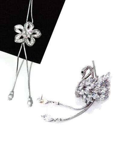 Mujer Joyas Cadena Colgante De Plata Flor Cisne Colgante Collar de declaración