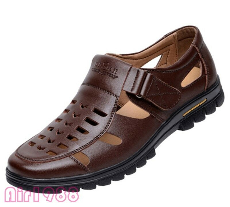 Summer Mens Faux Leather Hollow Out Breathable Business Clip Toe shoes Flat shoes