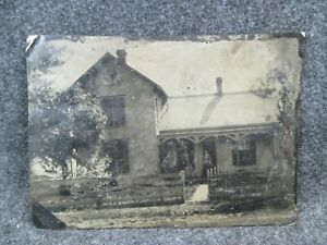 Full-Plate-Tintype-Image-Photo-of-a-House-in-Kansas-1860-Civil-War-Era