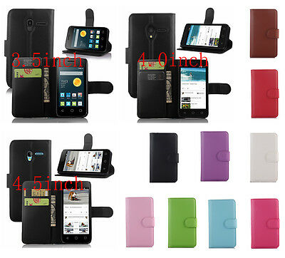 For Alcatel One Touch Pixi 3 Cover Flip Card Wallet PU Leather Case Stand Skin