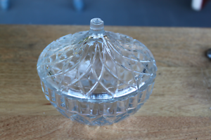 KIG Indonesia Vintage Clear Glass Covered Dish