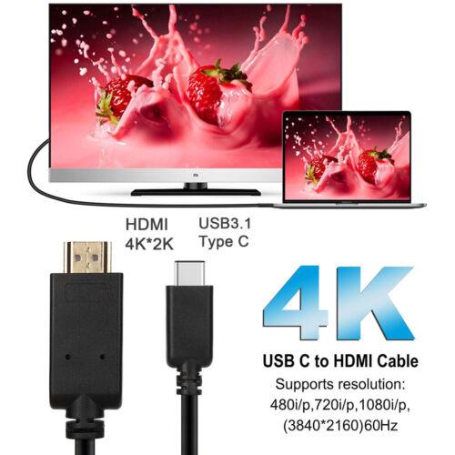 USB Type C Thunderbolt 3 to HDMI 4K@60Hz UHD 6 Feet Cable 3D Ethernet Audio Vid