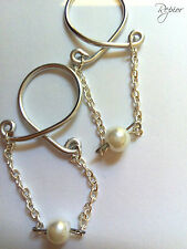 2 x Chain and Pearl Ring Nipple Ring Clip on Body Jewelry Non Piercing Nipple