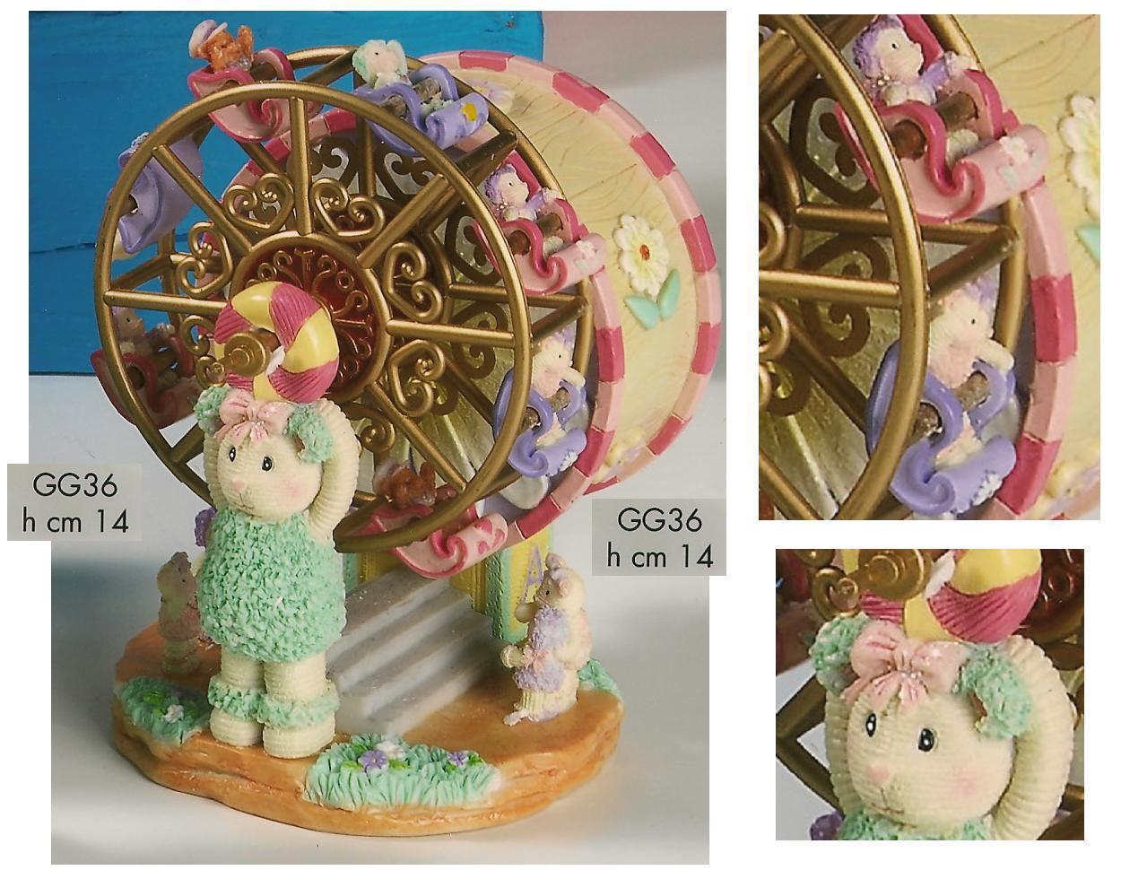 Karussell CARILLON Musical mit Teddybären und Kinder auf Rad Übersicht