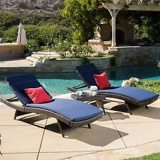 Outdoor 3-piece Brown Wicker Adjustable Chaise Lounge Set with Navy Cushions