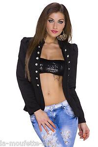 Veste-Manteau-Femme-Officier-Blazer-Noir-NEUF-Taille-36-S-Jacket
