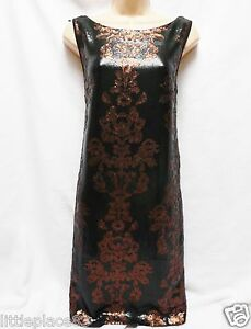BNWT-NEXT-new-RRP85-Black-Gold-Rust-shift-occasion-evening-sequin-floral-dress