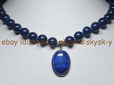"New 10mm Blue Egyptian Lapis Lazuli Gemstone Beads Oval Pendant Necklace 18"" AAA"