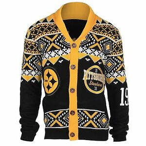 detailed look bb531 be437 Details about Pittsburgh Steelers NFL Ugly Knit Cardigan Sweater By Klew