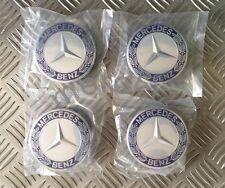 Mercedes Benz Aleación Centro De Rueda Caps 75mm insignias Azul Hub Set X 4,1 Emblema