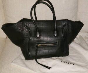 07ddc9167e13 Image is loading Authentic-CELINE-Phantom-Luggage-Black-Calfskin-Leather- Croc-