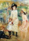 "Auguste Renoir CANVAS PRINT Children on The Sea shore Art poster 16""X12"""