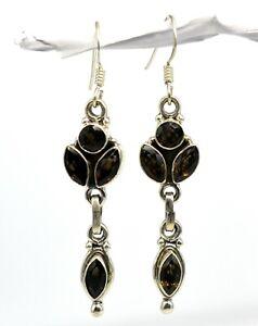 925-Sterling-Silver-Smoky-Quartz-Gemstone-Earrings-Jewelry-9-07-gm-CCI