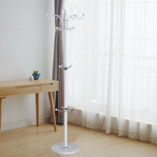 """70/"""" Home Bedroom Metal Clothes Coat Hat Hanger Stand with 15 Hooks Marble Base"""