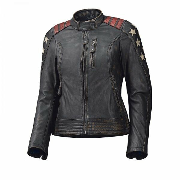 Held mujer chaqueta de cuero laxy rojo   Negro para moto NUEVO