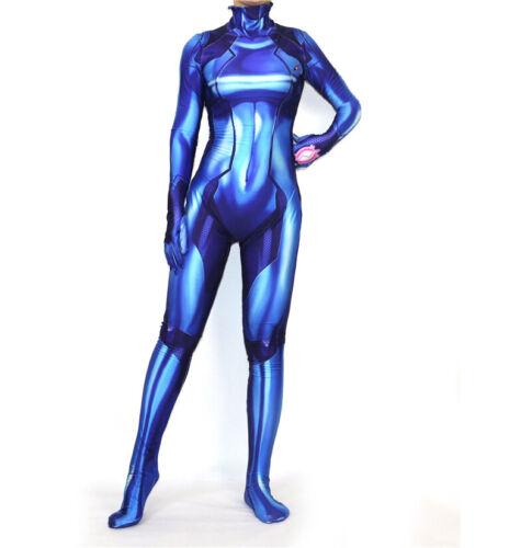 Samus Zero Aran Jumpsuit Womens Costume Printing Lycra Spandex Cosplay Bodysuit