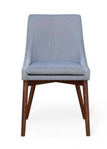 Baumhaus Walnut Upholstered Dining Chair - Grey / Blue Linen (Pair) 5060164719366