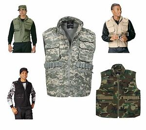 Military-8-Pocket-Tactical-Ranger-Vest-W-Hood-Black-ACU-Wood-Camo-Khaki-OD