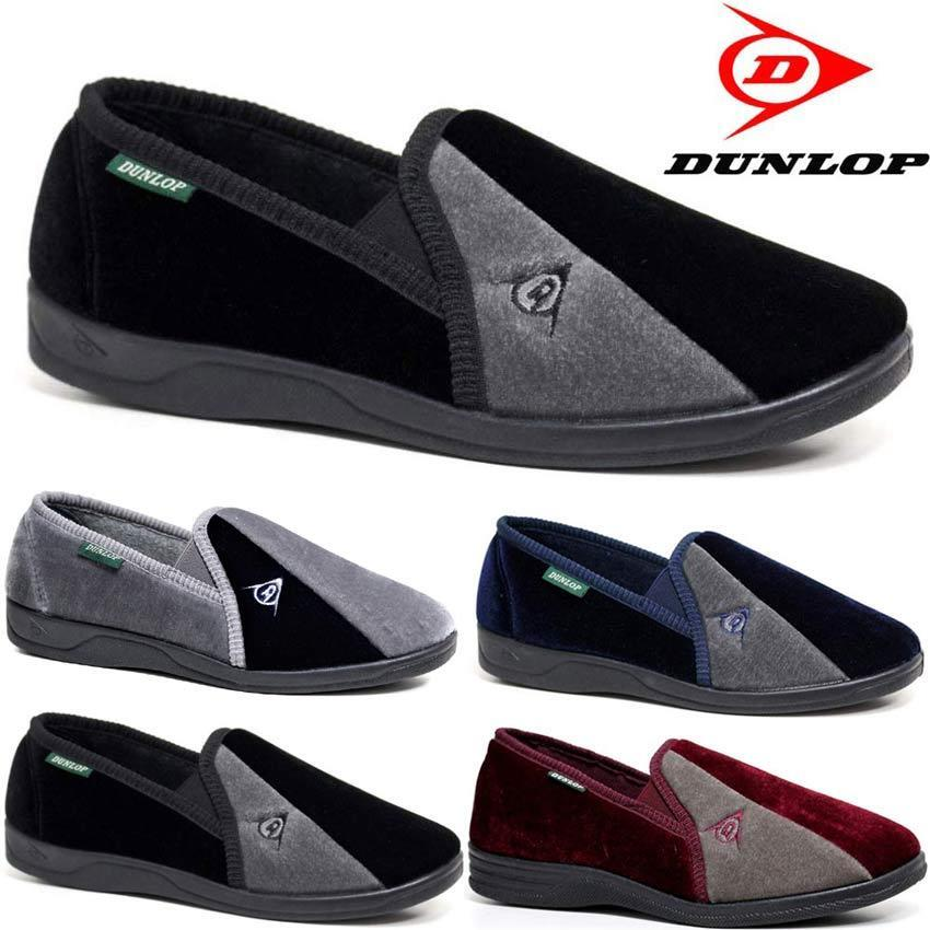 MENS DUNLOP SLIPPERS WARM TWIN GUSSET SLIP ON WINTER VELOUR INDOOR SHOES SIZE