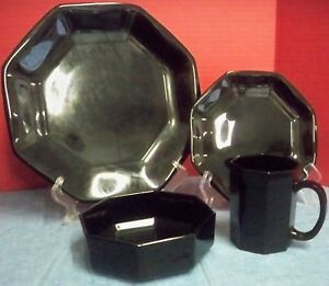 4 Pc Place Setting Octime Black Glass Dinnerware by Arcoroc Made in ...