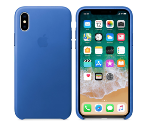 new style e7eb6 eb96e Details about iPhone X Case Electric Blue Natural Leather Original Apple  Protective Cover