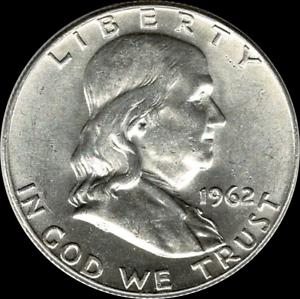 1962 Franklin Half Dollar ~ GEM Proof Uncirculated ~ 90/% Silver US Coin