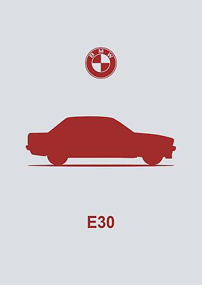 POSTER Art Print Car Silhouette Saloon A4 A3 A2 sizes BMW E30 3-Series -