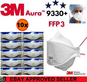 10er Pack: 3M™ Aura™ Atemschutzmaske 9330+ FFP3 FFP 3 o. Ventil - Mundschutz