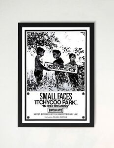 Framed Small Faces Itchycoo Park Promo Poster A4 Size In Black
