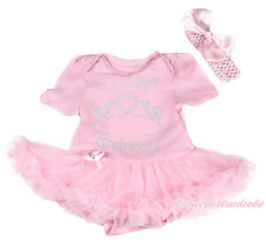 fe265e7f7f50c Details about Rhinestone Daddy's Princess Pink Bodysuit Pettiskirt Girl  Baby Dress NB-12Month