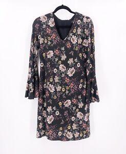 KAREN-KANE-Floral-Dress-Knee-Length-Size-Medium-Stretch-Long-Sleeve-V-Neck