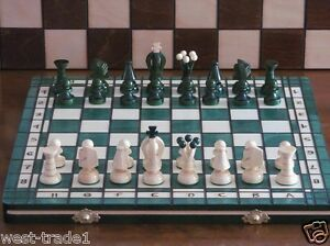 Brand New ♞Hand Crafted Wooden Green Chess And Draughts Set 36cm x 36cm ♖ 7426758162723