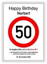 Verkehrszeichen Bild 50 Geburtstag Deko Geschenk persönliches Verkehrsschild NEU