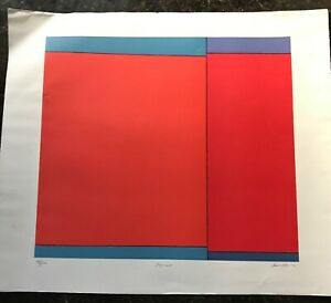 LUDWIG-SANDER-1970-Geometric-Color-Field-Lithograph-Pawnee-Signed-Abstract