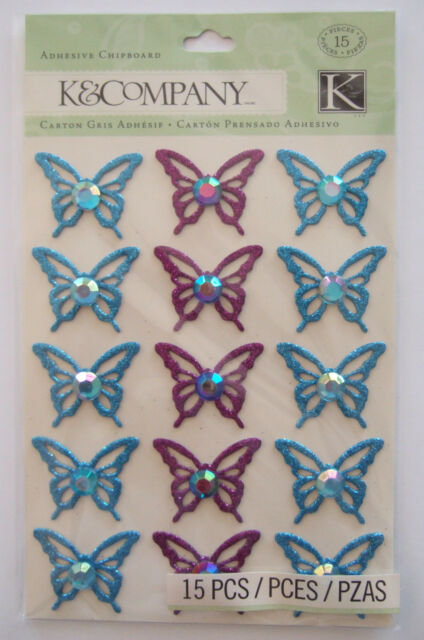 ~BOTANICAL BUTTERFLY~ Adhesive Chipboard Stickers K & CO Company; BUTTERFLIES
